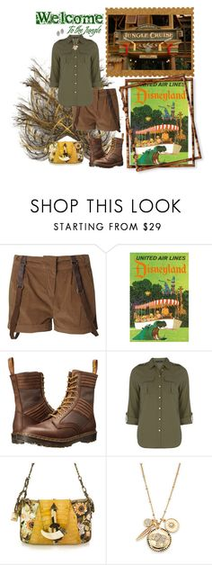 """Jungle Cruise DisneyBounding"" by seafreak83 ❤ liked on Polyvore featuring Blonde + Blonde, Dr. Martens, Dorothy Perkins, Gianfranco Ferré, Saks Fifth Avenue, Lisa August, disney, jungle, disneybound and disneyland"