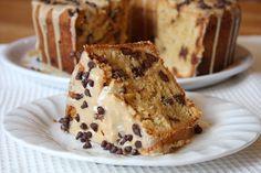 chocolate chip peanut butter pound cake with peanut butter glaze.
