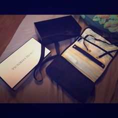VS Makeup/toiletries bag- ANGEL VIP EXCLUSIVE! VIP member exclusive. Never used, only opened! Adorable black satin/silk material with classic pink and white stripe on inside. Victoria's Secret Bags Cosmetic Bags & Cases
