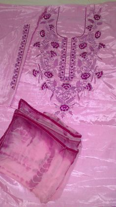 Machine Embroidered Suit in Pink Color, With Pure Chinon Chiffon Dupatta