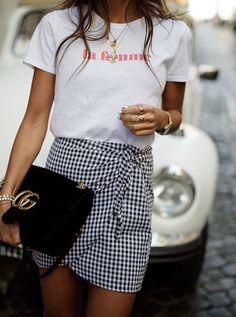 Gingham skirt.