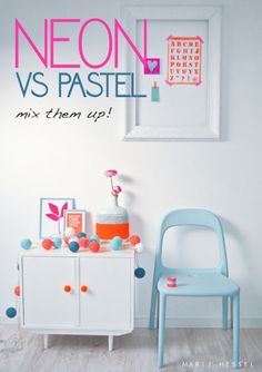 neon and pastel. neon and camel. Pastel Decor, Neon, Interior Inspiration, Room Inspiration, Interior Ideas, Interior Styling, Photo Deco, Big Girl Rooms, Home Trends