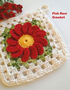 PINK ROSE CROCHET /: Handle with Red Flower Pots SQUARE