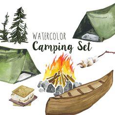 Watercolor Camping clip art Set, Summer outdoors activities, Camping clipart, digital campfire illustration, Tent clipart, Woods Clip Art by DigitalPressCreation on Etsy https://www.etsy.com/listing/400025307/watercolor-camping-clip-art-set-summer