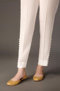 – Baroque Happy relationships are caused by Fairy Godmother interven… Trouser Pants, Trousers Women, Pants For Women, Plazzo Pants, Lace Pants, White Pants, Pakistani Dresses Casual, Pakistani Dress Design, Salwar Pants