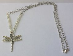 Silver Dragonfly Pendent Necklace, Spring Jewelry, Necklaces for Women