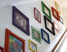 Colorful frames - thrift store finds spray painted
