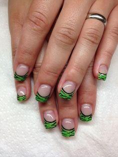 Green Zebra Tip Gel Nails