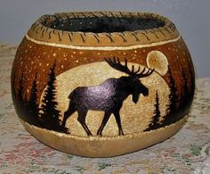 Cowhide Furniture, Decorative Gourds, Southwestern Art, Gourd Lamp, Painted Gourds, Wood Burning Patterns, Craft Stick Crafts, Pyrography, Clay Art