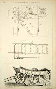 1852 Steel Engraving Antique Scotch Threshing Machine Hoop Wagon Farming FD1 - Period Paper