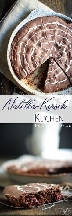 Nutella Erdmandel cake with cherries Nutella Muffin, Healthy Fiber, Good Food, Yummy Food, Bakery Cakes, World Recipes, Diy Food, Chocolate Recipes, Sweet Tooth