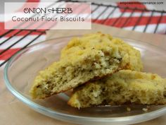 Onion herb coconut flour biscuits. You need only one bowl and about 5 minutes to whip these up, and they melt in your mouth!