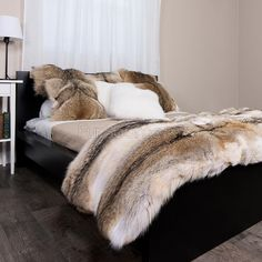 Shop FurSource for the best selection of Premium Full Pelt Fur Blankets. Buy the Custom Full Pelt Coyote Fur Blanket / Fur Throw by FRR with fast same day shipping. Fur Bed Throw, Fur Blanket, Bed Throws, Fur Bedding, Bedding Inspiration, Fur Rug, Comfy Bed, Soft Blankets, Rugs On Carpet