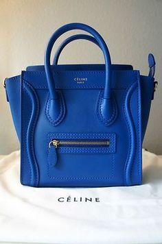Royal blue Celine bag leather handbags and purses Mk Handbags, Purses And Handbags, Leather Handbags, Leather Bag, Designer Handbags, Chanel Handbags, Custom Totes, Dior, Sacs Design
