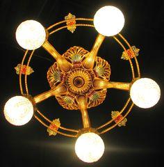 Deco Antique Victorian Cast Metal Ceiling Light Chandelier Fixture 1930'S | eBay