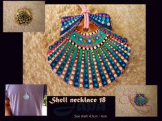 Unique handpainted shell necklace by Jaba