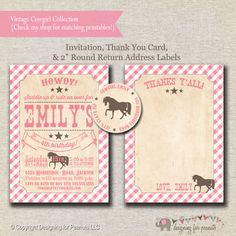 Pony Party Invitation, Thank You Card, Return Address Labels pink and brown | Vintage Cowgirl Birthday Party Printables | digital printable by designingforpeanuts on Etsy https://www.etsy.com/listing/211382623/pony-party-invitation-thank-you-card