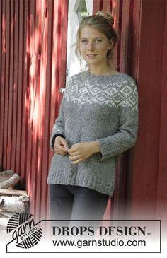 Pull avec empiècement arrondi et jacquard norvégien, tricoté de haut en bas. Du S au XXXL Se tricote en DROPS Air.