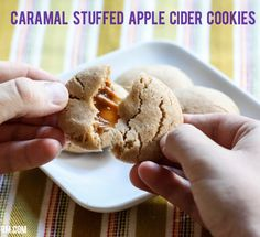 caramel stuffed apple cider cookies-1 cup softened butter 3/4 cup granulated sugar 1/4 cup brown sugar 1/2 teaspoon salt 7.4 oz. box Alpine Spiced Apple Cider Instant Original Drink Mix (10 pkg) 2 eggs 1 teaspoon vanilla extract 1 teaspoon baking soda 1/2 teaspoon baking powder 1 teaspoon ground cinnamon 3 cups all-purpose flour 1 14 oz. bag Kraft Caramels  Bake at 350F for 12-15 min