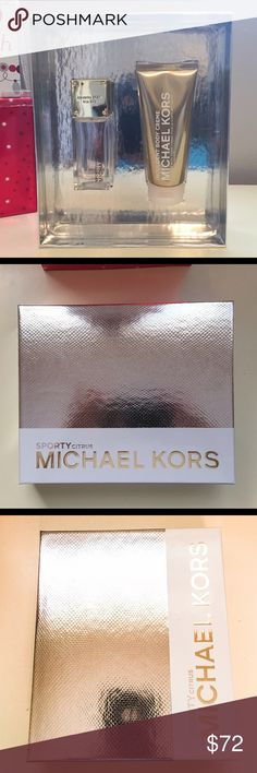 💝New MK 2-piece Gift Set💝 Michael Kors Collection fragrance that will take you from weekend chic to center stage. Sporty Citrus is a dazzling burst of citrus with luscious orange flower and a hint of warm woods. Casually chic and fresh. This luxurious gift set includes 1.7 oz. Sporty Citrus Eau de Parfum Spray and 3.4 oz. Indulgent Body Creme.  Perfect Holiday Gift Check out my closet for more new authentic designer name items Michael Kors Other
