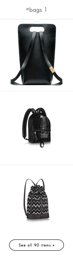 """#bags 1"" by stylemeup-649 ❤ liked on Polyvore featuring bags, backpacks, black, day pack backpack, knapsack bag, leather daypack, leather bags, genuine leather bags, louis vuitton and croc bags"