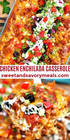 Chicken Enchilada Casserole has all the Mexican flavors of the enchilada minus the long prep time! #enchilada #chicken #casserole #chickenenchilada #sweetandsavorymeals Duck Recipes, Best Chicken Recipes, Veggie Recipes, Mexican Food Recipes, Easy Weeknight Meals, Easy Dinners, Easy Dinner Recipes, Mexican Chicken Casserole, Chicken Enchiladas