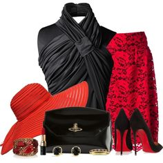 Chic Outfits - Red Lace Skirt Outfit