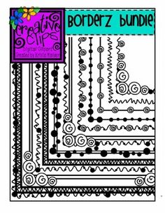 Items similar to Borderz Bundle 1 (Creative Clips Digital Clipart) on Etsy Tangle Doodle, Doodles Zentangles, Zen Doodle, Doodle Art, Doodle Borders, Doodle Patterns, Zentangle Patterns, Creative Clips, Painting & Drawing