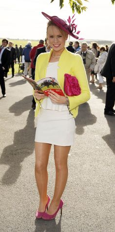 Yellow blazer, pink clutch, pink hat and cream peplum dress for a day out at the races