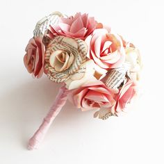 Pink Champagne BOOK ROSES - Paper Flowers (use comic book for the roses to match possible wedding theme)