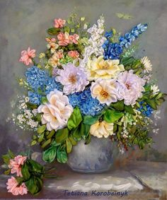 Picture to order, silk ribbon embroidery, fabric flowers, embroidered picture