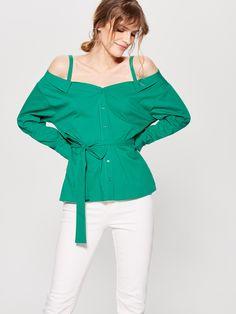 Блузка с открытыми плечами, MOHITO, UE591-77X