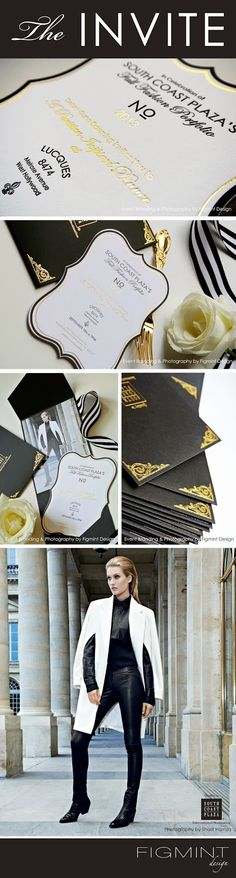 CHANEL-inspired stationery and event branding for South Coast Plaza's Fall Fashion Portfolio, shot in Paris. Black, White and Gold. Couture letterpress invites with Gold Foil by Figmint Design.