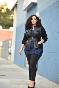 Plus Size Fashion - Moto Jacket, Tunic Sweater, Skinny Pants