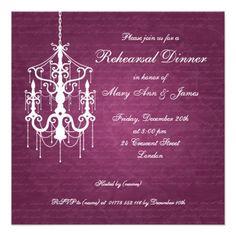 Chandelier Wedding Rehearsal Dinner Wedding Rehearsal Dinner Chandelier Berry Pink Card