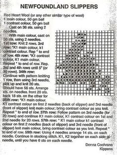 newfoundland knitting patterns for slippers Knitting Charts, Baby Knitting Patterns, Knitting Stitches, Embroidery Patterns, Quilt Patterns, Knitted Mittens Pattern, Knitted Slippers, Knit Mittens, Knitting Socks