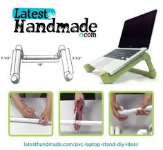 Full instructions material list and video! - Ideas of Laptop Stands - PVC laptop stand. Full instructions material list and video! Pipe Diy Projects, Pvc Pipe Crafts, Diy And Crafts, Diy Laptop Stand, Laptop Desk, Diy Standing Desk, Diy Workbench, Diy Garage, Diy Furniture