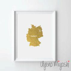Deutschland Karte Blattgold Grafik, Gold Grafik, Karte benutzerdefinierte Print in Gold, Illustration, Kunstdruck, Karte von