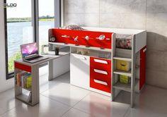 Multifunkční dětská postel s červenými detaily Office Desk, Corner Desk, Toys, Vanity, Bed, Furniture, Design, Home Decor, Corner Table