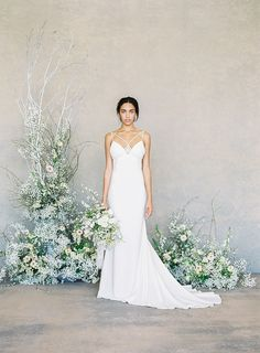 "Claire Pettibone Spring 2019 Bridal Collection: ""The White Album"" ⋆ Ruffled Simple Bridal Dresses, Mon Cheri Wedding Dresses, Wedding Dresses 2018, Colored Wedding Dresses, Designer Wedding Dresses, Wedding Colors, Gown Wedding, Wedding Blog, Wedding Decor"