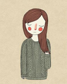 Green Sweater Illustration Print by NanLawson on Etsy, $10.00