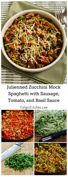 Before I had a Spiralizer, I used an inexpensive julienne peeler to make this Julienned Zucchini Mock Spaghetti with Quick Sausage, Tomato, and Basil Sauce. So delicious and it's #LowCarb and #GlutenFree, as well as Phase One for the #SouthBeachDiet. [from KalynsKitchen.com]