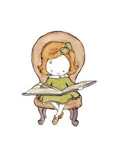 Children's Art -- Little Scholar brunette girl in a brown study 8X10 -- Art Print by  trafalgarssquare (etsy)