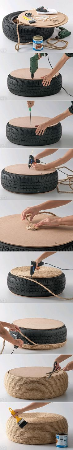 DIY Tire Ottoman = cut wood to center of tire, wrap with rope/twine (hot glue or gorilla glue) and paint with sealer.