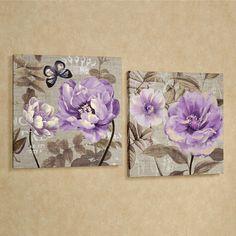 Fl Delight Purple Flower Canvas Wall Art Set