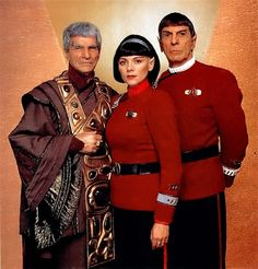 Sarek (Mark Lenard), Valeris (Kim Cattrall), and Spock (Leonard Nimoy) Star Trek Star Trek Crew, Star Trek Vi, Star Trek 1966, Star Trek Spock, Star Wars, Vulcan Star Trek, Star Trek Actors, Film Star Trek, Star Trek Characters