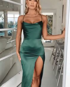 Green Prom/Evening Dress with Split Front Sexy Spaghetti Straps Burgundy Prom/Evening Dress with Split Front Pretty Prom Dresses, Elegant Dresses, Cute Dresses, Short Dresses, Sexy Dresses, Short Tight Formal Dresses, Night Out Dresses, Formal Prom Dresses, Amazing Prom Dresses