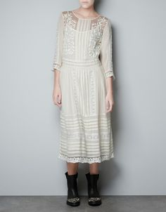 PIN TUCK EMBROIDERED DRESS