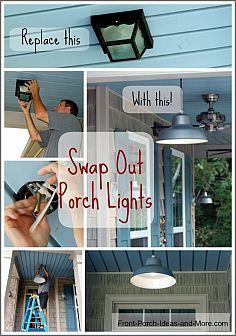 Hometalk :: DIY Porch Projects :: Front Porch Ideas& clipboard on Hometalk Porch Ceiling Lights, Hanging Patio Lights, Outside Porch Lights, Small Front Porches, Decks And Porches, Small Patio, Diy Porch, Porch Ideas, Sunroom Diy