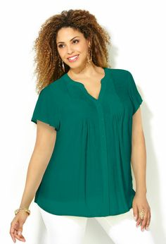 Pleated Panel Blouse-Plus Size Woven Tops-Avenue